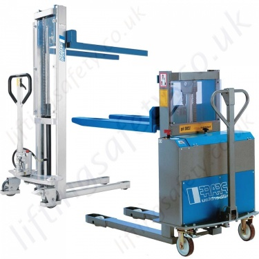 Stacker Trucks, Materials Lifts, Manual and Electric