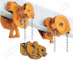 Kito Geared Travel (Chain Drive) Beam Trolleys - Monorail (I Beam)