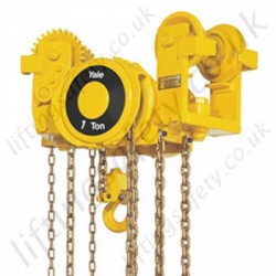 Yale VL Low Headroom Hand Chain Hoist (Push and Geared Travel) - Range from 250kg to 6000kg