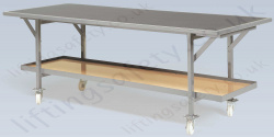 LiftingSafety Heavy Duty Moveable Work Bench with Shelf, 500kg Capacity, 2440 x 936mm Table Top