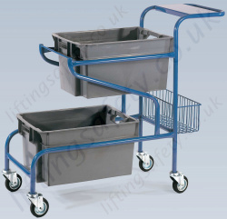 LiftingSafety Order Picking Trolley, 100kg Capacity, with 600 x 400 x 300mm Plastic Containers and a Basket