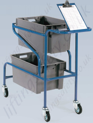 LiftingSafety Order Picking Trolley, 100kg Capacity, with 600 x 400 x 300mm Plastic Containers and a Clipboard Holder