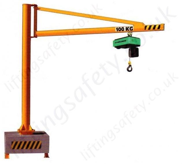 Overhead Crane 500kg : Portable swing jib crane with c profile lifting beam