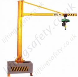 'H' Section Portable Swing Jib Crane Overbraced Design - Range from 125kg to 500kg