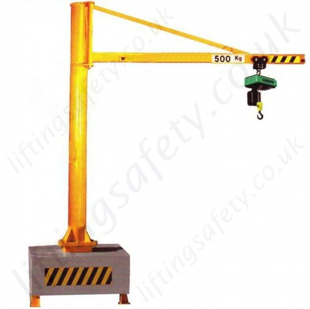 Jib Cranes Design : H section portable swing jib crane overbraced design