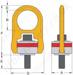 Yoke Swivel Hoist Ring Washer Type Dimensions