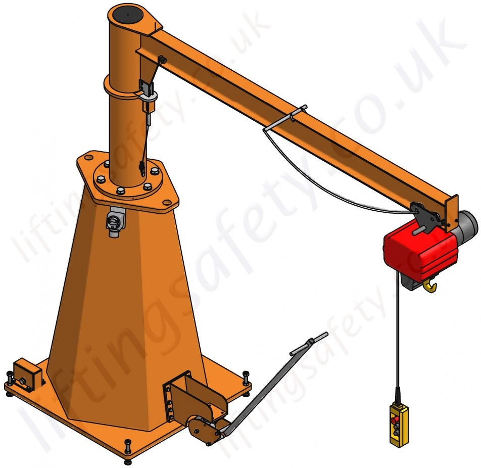Jib crane with hoist : Vetter portable pillar jib crane with max reach mm