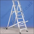 Heavy Duty Mobile Stepladder Platform and Handrail - Maximum Height of 4.80m