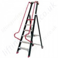 Single Sided Warehouse Stepladder with Platform and Extra High Guardrail - Maximum Working Height 4.60m