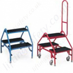 Double Sided Mobile or Static Step with Optional Safety Handrail