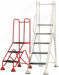 Mobile Easy Glide Standard or EN 131 Certified Work Platform. Optional Handrail, 2-5 Step Models
