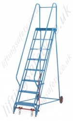 Mobile Steps Working Platform Rubber Tyred 3-10 Steps Epoxy Powder Finish