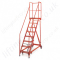 Easily Manoeuvrable Heavy Duty Steel Frame Mobile Steps with 3-18 Steps and Epoxy Powder Coated Finish