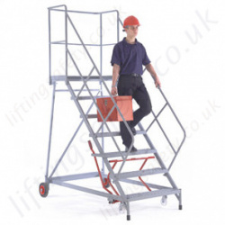 Easy Slope Mobile Steps with 48° / 54° Incline, Strong Reinforced Handrails and Work Platform