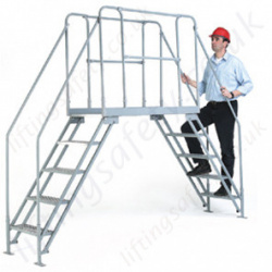 Cross Over Bridge Steps Safe Access Solution for Conveyors / Production Lines with a Mobile Model Available