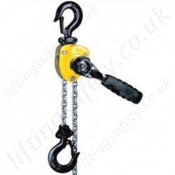 "Yale ""Handy"" Ratchet Lever Hoist. Lightweight Pressed Steel Body - Pull Lift Range 250kg or 500kg"