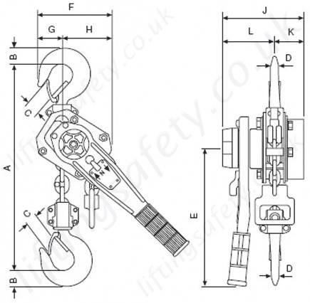 yale pt lever hoist dimensional drawing