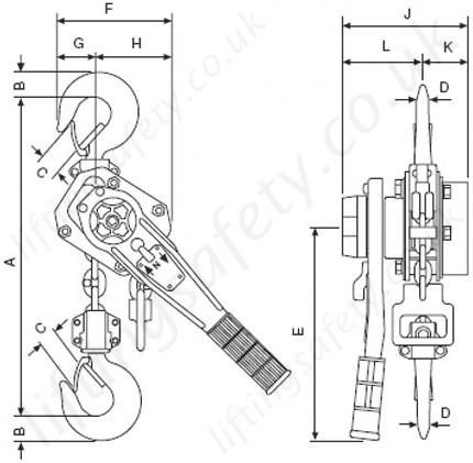 yale uno lever hoist dimensional drawing