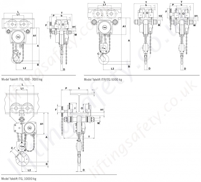 Yalelift 360 degree gear travel hoist dimensional drawing