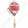 "Miller ""MI54 Mightylite"" Fall Arrest Block (Fall Limiter) Galvanised or Stainless Steel Cable Lanyard with Swivel Snap Hook - Range from 6.2m - 40m"