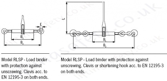 Yale RLSP Load binders dimensional drawing