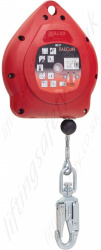"Miller ""Falcon Eco"" Vertical and Horizontal Use Fall Arrest Inertia Reel. Galvanised Components & Steel Cable Lanyard with Swivel Hook - Range from 6.2 - 20 Metre"