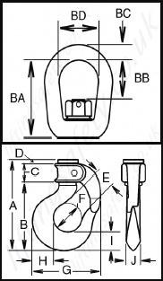 Crosby    BLC   BLA Closed Swivel Bail    Hook     Range from