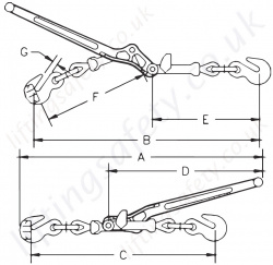 Lebus A1w Walking Load Binder Dimensions