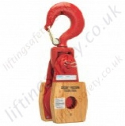 "Crosby ""T385"" & ""T390"" Manilla Rope Snatch Block, Wood or Steel Shell, Galvanized or Painted - Range from 1800kg to 7300kg"