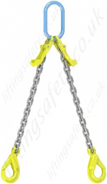 2 Leg Chain Sling with Self-Locking Hooks and Shoretening Clutches