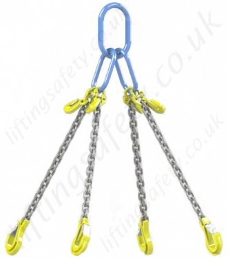 4 Leg Chain Sling with Sling Hooks and Shornening Grab Hooks