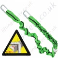 "Miller Manyard ""Horizontal Use"" Fall Arrest Elasticated Lanyard. Many Options of Karabiner and Scaffold Hook - 2 Metre"
