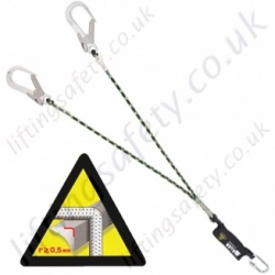 "Miller ""Horizontal Use"" Twin Leg Fall Arrest Lanyard With Scaffold Hooks - 2m"