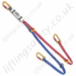 "Miller ""Tie Back"" Twin Leg Fall Arrest Lanyard. Choice of Karabiners, Scaffold Hook or Snap hooks - 1.5 Metre"
