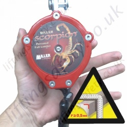 "Miller Scorpion ""Edge Tested"" Inertia Reel Personal Fall Limiter (PFL) Polyester Webbing Lanyard (Many Karabiner Options) - 2.7 Metre"