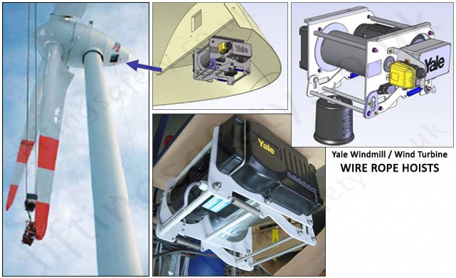 Wind-mill wire rope hoist