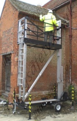 Man-Lift manually raised tower access platform