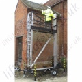 LiftingSafety Manually Hand Winch Raised Access Platform / Scaffold Tower Integrated into A Highways Standard Trailer- 6.5m Working Height