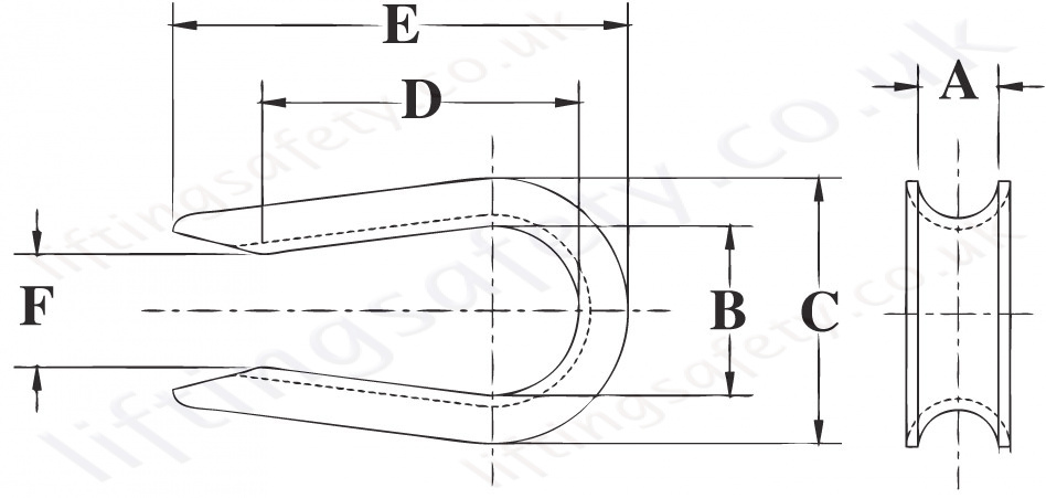 Crosby Open Patternthimble Dimensions
