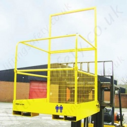 Fork Lift Truck Tine Mounted Safety Access Man-Riding Platform with Lift-up Bar for Access and Egress - 2 Person