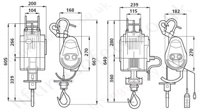 wire rope hoist dimensions