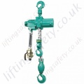 "JDN ""M Series"" Twin Hook, Hook Suspended Hoist - Medium Duty Pneumatic Chain Hoist - Range from 1000kg to 6000kg"