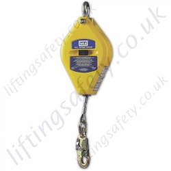 SALA Heavy Duty Fall Arrest Inertia Reel Block (Fall Limiter) Galvanised or Stainless Steel Cable Lanyard with Swivel Snap Hook - 6m or 12 Metre