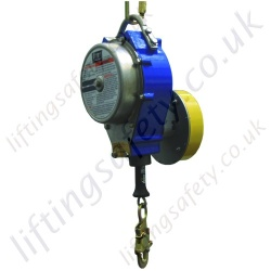 SALA Fall Arrest Inertia Reel Block (Fall Limiter) with Integrated Automatic Descender. Steel Cable Lanyard - 15 Metre