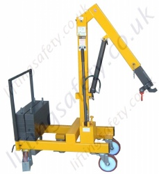 MANUAL OR POWERED - Pivoting Arm Knock-down Counterbalance Floor Crane, Hand or Powered Lift & Travel. Many options Inc 20 degree Rotation.