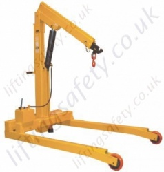 MANUAL OR POWERED - Heavy Duty Parallel Leg Workshop Floor Crane With Pivoting or Rigid Arm Styles. Many Options Inc 30 Degree Rotation - Range to 5000kg