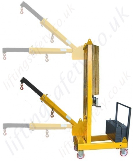 Articulating Arm Hoist : Manual or powered carriage mounted fork truck lifting