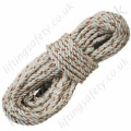 "Protecta ""AL012"" Twisted 3 Strand Polyamide Rope. White with Red ID Thread. Terminations, Plain Ends - 12mm Diameter x 20 Metre (Custom Lengths Available.)"