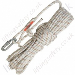 "Protecta ""AC2 Anchorage Line"" Braided Rope. Terminations, Karabiner & Plain End - 10.5mm Diameter x 10, 15, 20, 30, 40, 50 & 60 Metre"