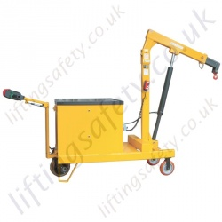 POWERED - Pivoting Arm Counterbalance Workshop Floor Crane, Hand or Powered Lift & Travel. Many options Inc 30 degree Rotation.